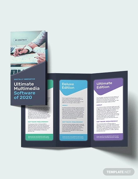 software company tri fold brochure template