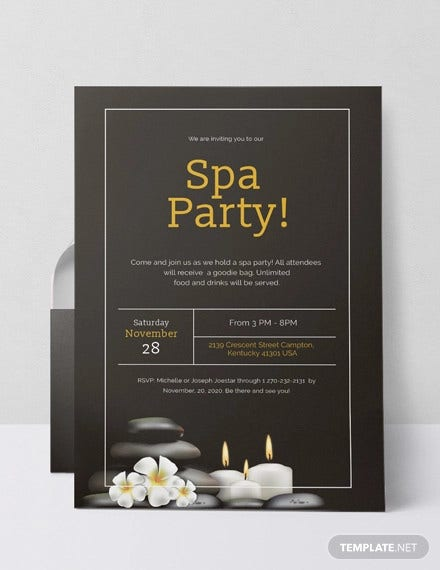 12  spa party invitations