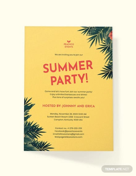 photograph regarding Beach Party Invitations Free Printable called 18+ Summertime Social gathering Invites - PSD, AI, EPS Cost-free Top quality