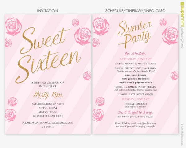 sweet sixteen sleepover invitation1