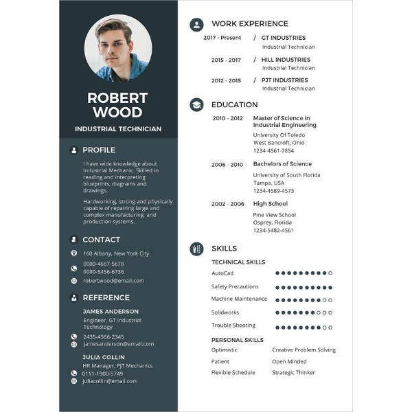 technician experience resume template2