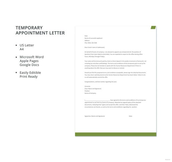 temporary appointment letter template