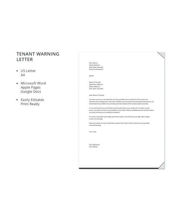 Tenant Warning Letter Template 8 Free Word Pdf Format Download Free Premium Templates