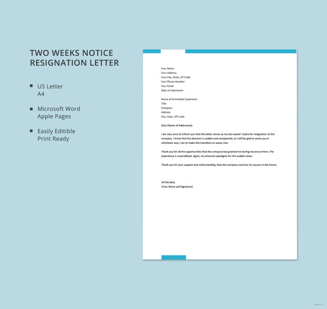 two weeks notice resignation letter template