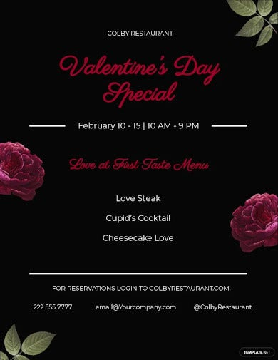 valentines day menu flyer template