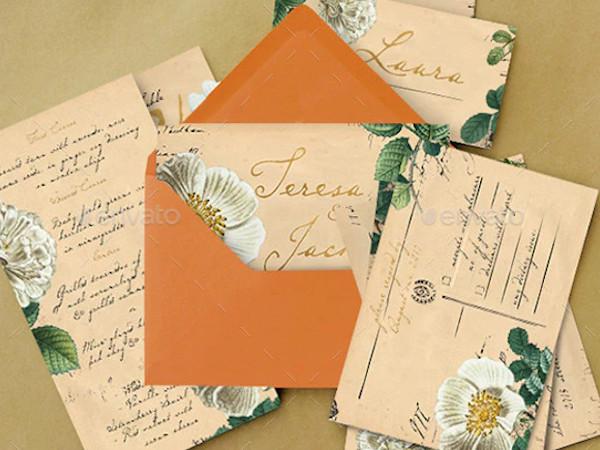 vintage floral postcard wedding invitation1