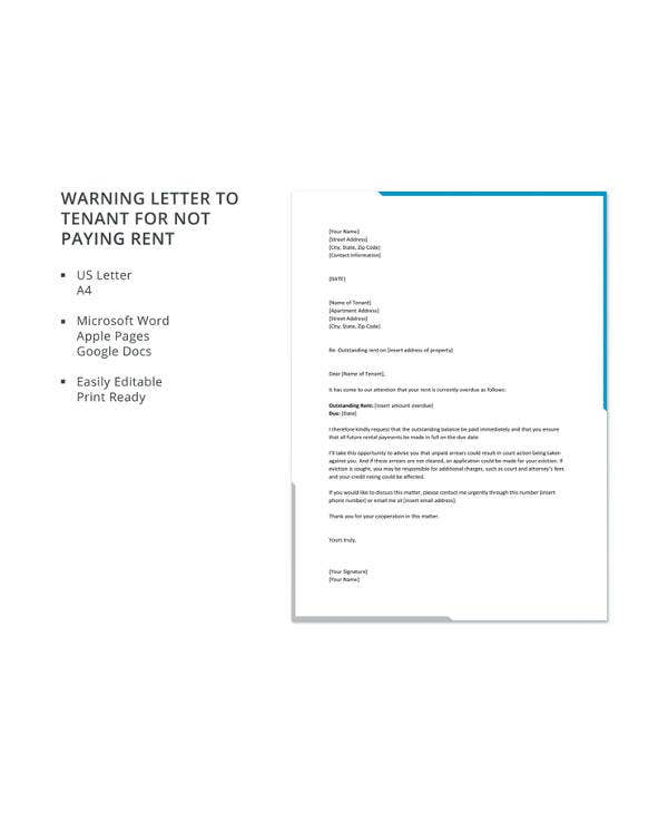 warning letter to tenant for not paying rent