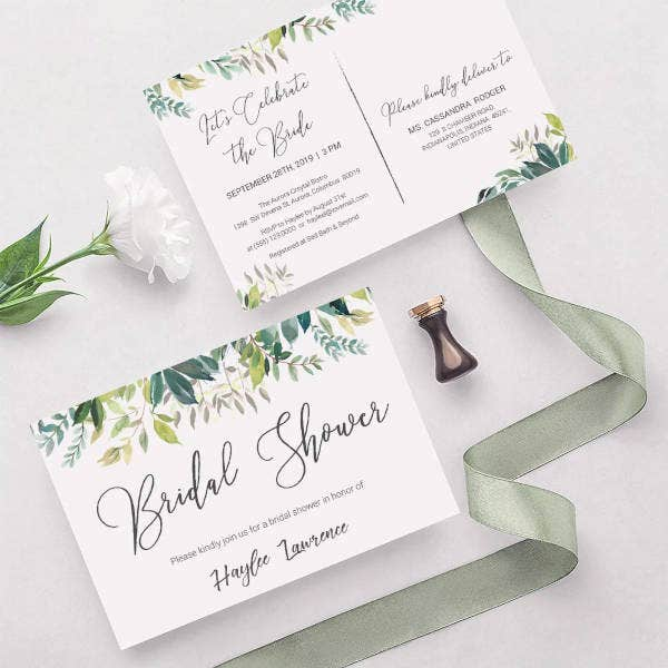 watercolor bridal shower invitation postcard