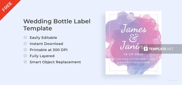 wedding bottle label template to print