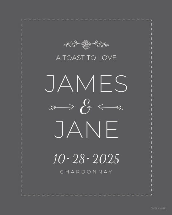 wedding champagne bottle label template