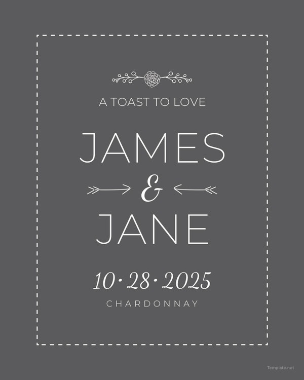 wedding champagne bottle label template1
