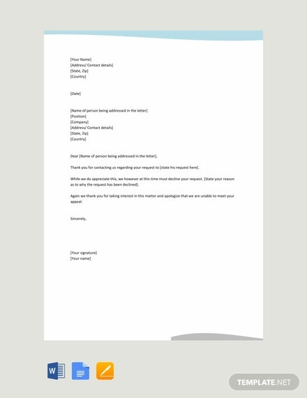 free response letter to a request