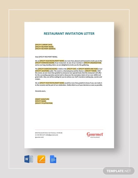 restaurant invitation letter