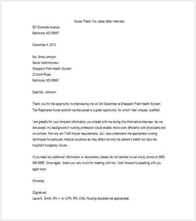 sample thank you letter after nursing job interview download