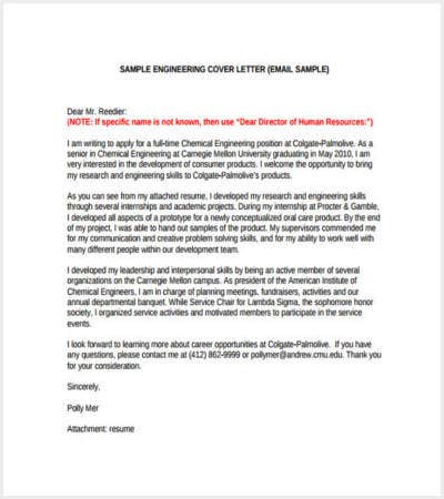 engineering email cover letter free pdf template download
