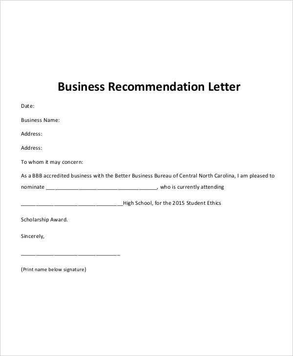 40 recommendation letter templates in pdf free for Recommendation letter for a company template