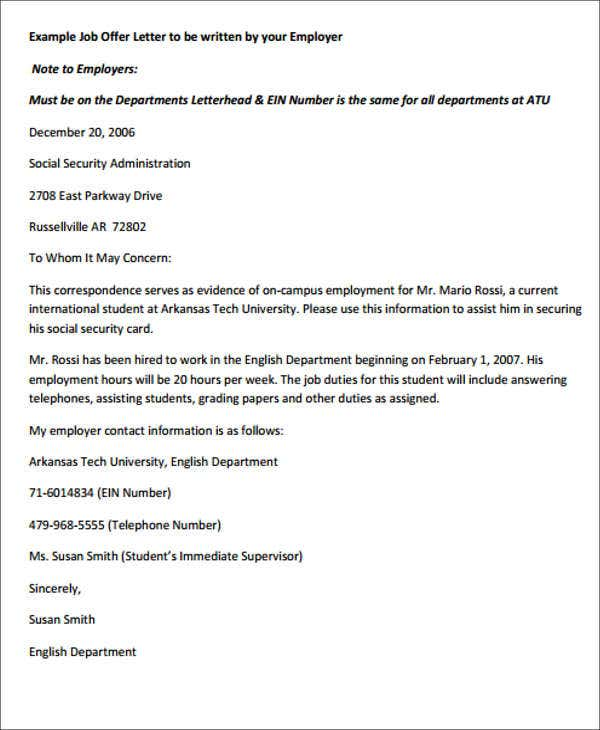 employment offer letter format Korestjovenesambientecasco