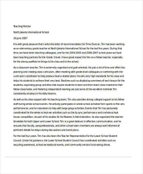 sample recommendation letter for colleague teacher
