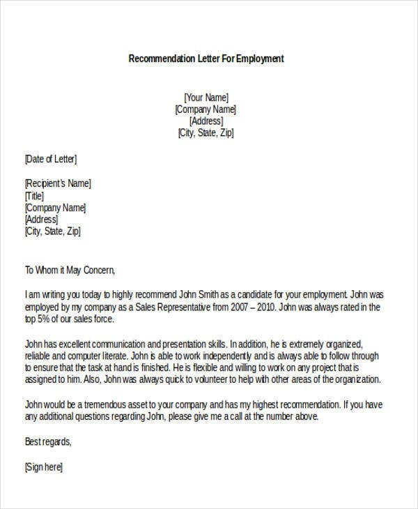 Sales Job Recommendation Letter Template
