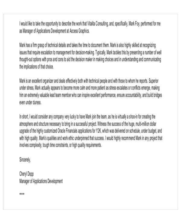 sample business recommendation letter from client
