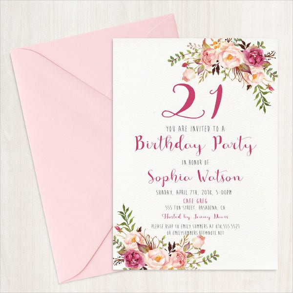 21st Birthday Invitation Card