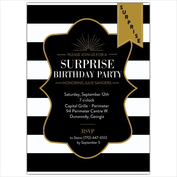 Example of Surprise Birthday Party Invitation
