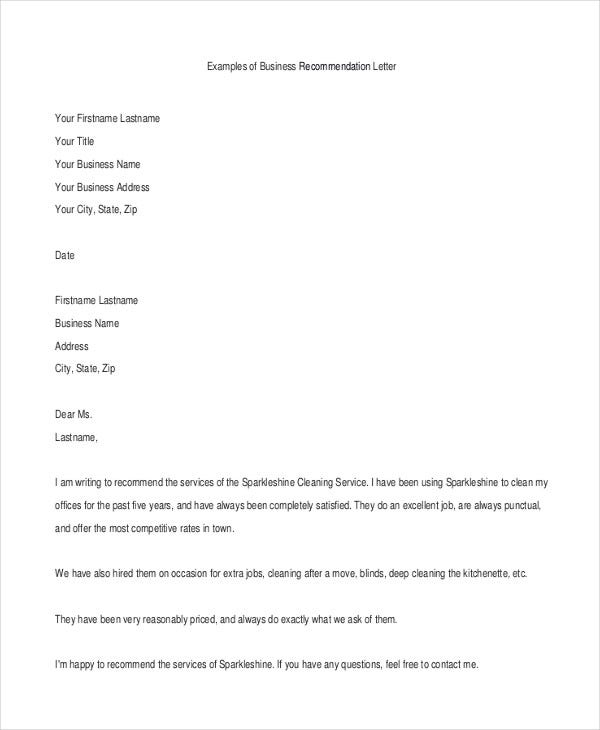 example of a business letter 40 recommendation letter templates in pdf free 21557 | Recommendation Business Letter Example