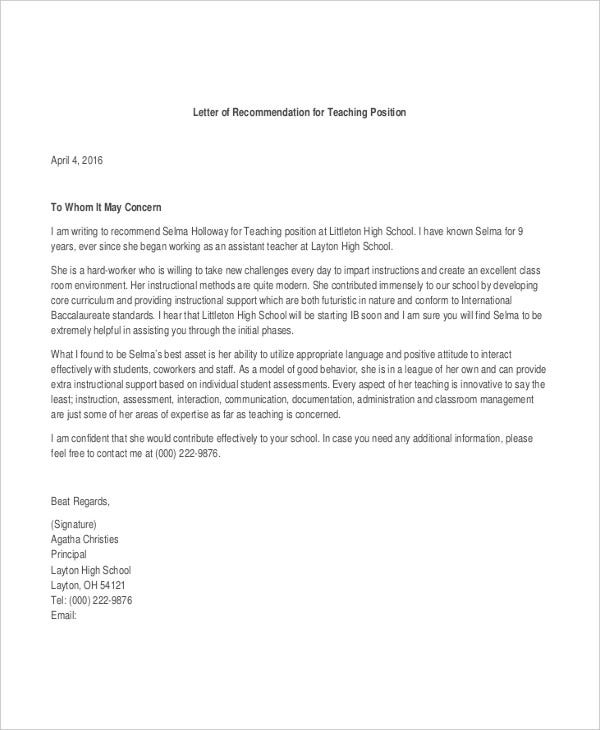 40 Recommendation Letter Templates In Pdf Free
