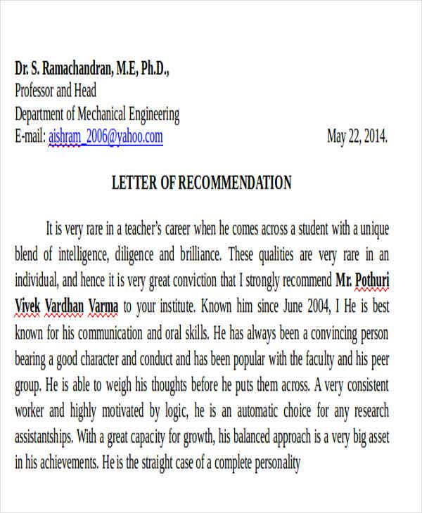 recommendation letter for student from professor template