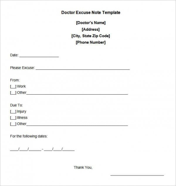 Free Doctor Excuse Note Template Min