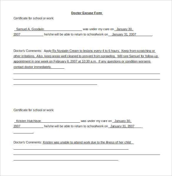 Saample Doctor Note Template For Word Doc Download Min