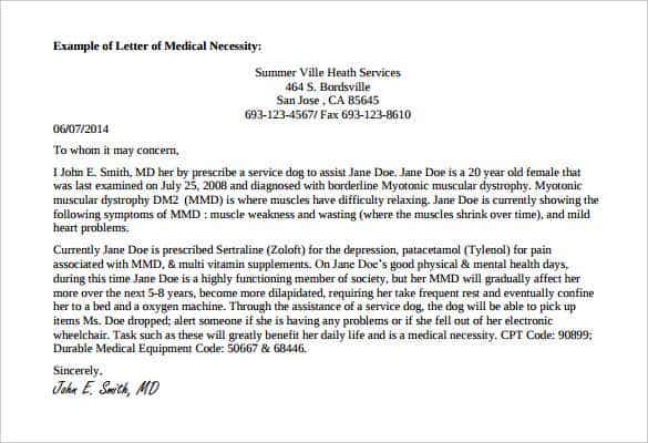 sample doctor note for service dog