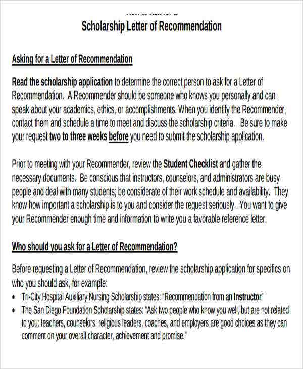 letter of recommendation for scholarship from teacher template