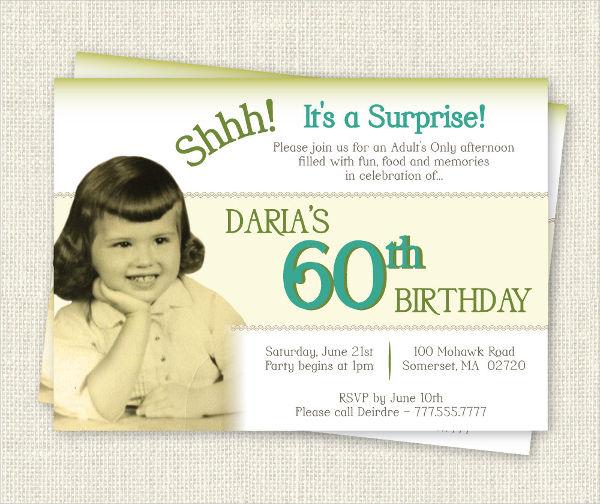 60th Birthday Invitation Card
