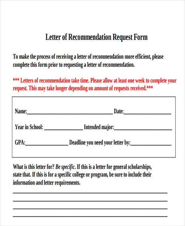 Letter Of Recommendation Request Form Template