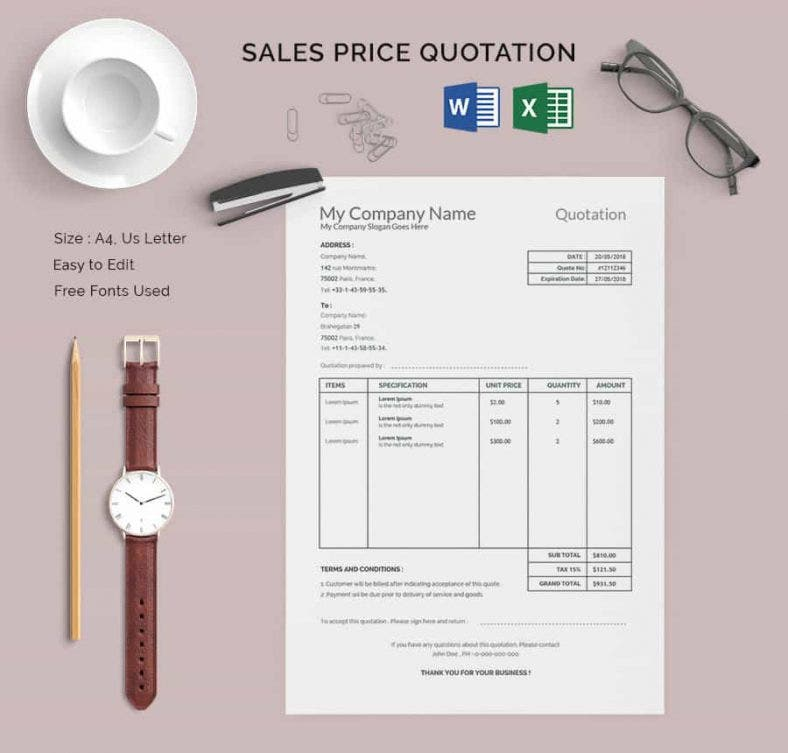 18 price quotation templates doc pdfxls free premium templates sales price quotation template spiritdancerdesigns Image collections