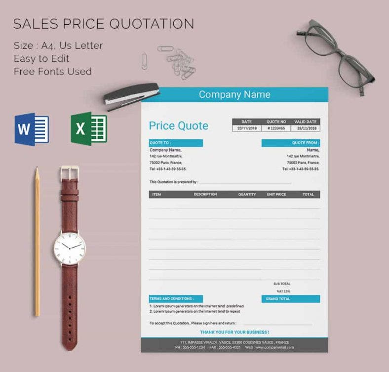 Price Quotation Template - 15+ Free Word, Excel, Pdf Documents