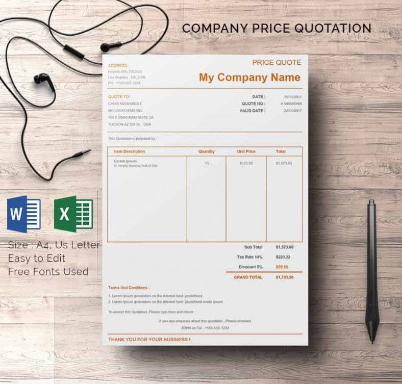 18 price quotation templates doc pdf xls free for Kitchen design quotation