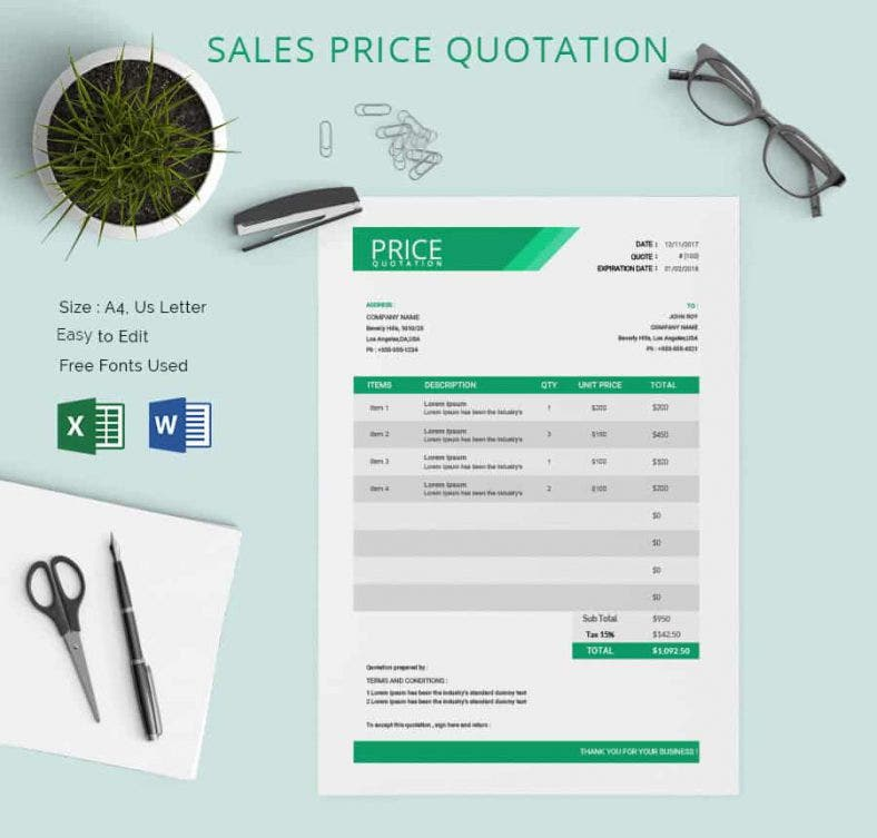 Price Quotation Template 15 Free Word Excel PDF Documents – Sample for Quotation
