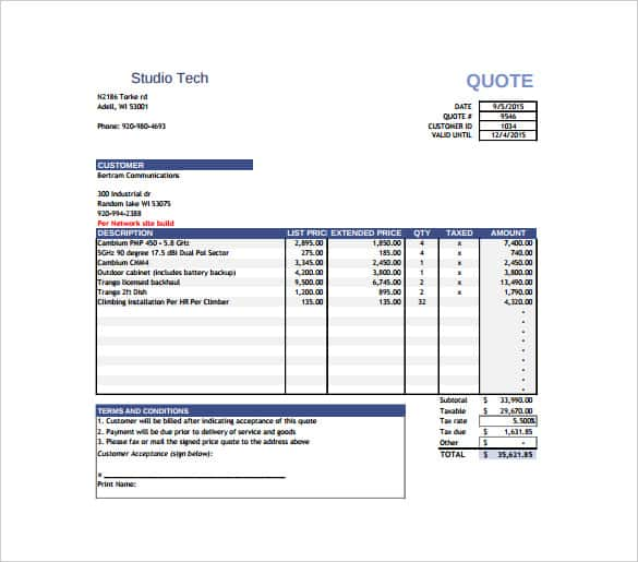 Price Quotation Template 15 Free Word Excel PDF Documents – Free Download Quotation Template
