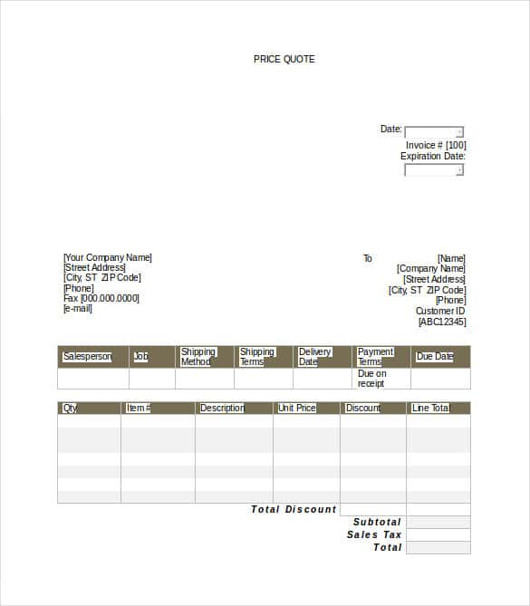 Price Quotation Template 15 Free Word Excel PDF Documents – Business Quotation Sample