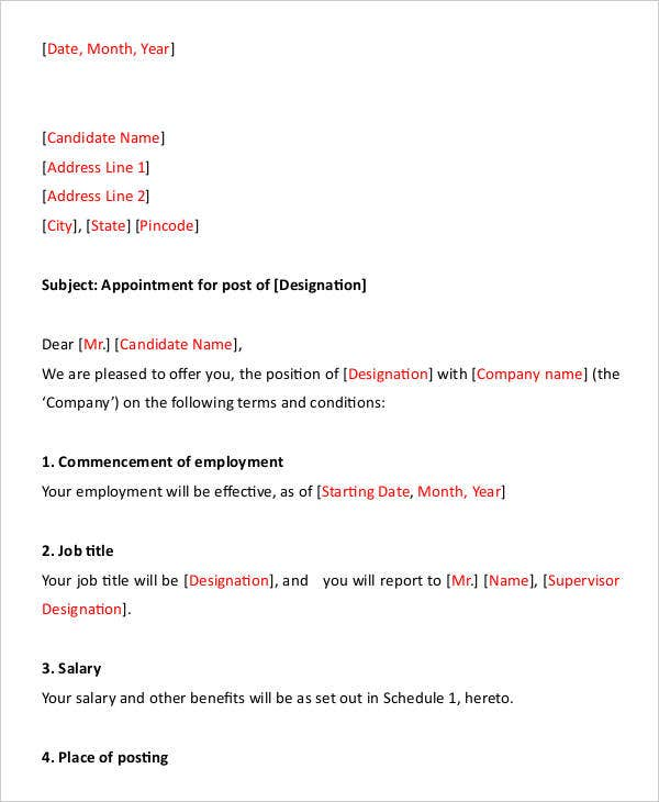 Appointment letters 18 free word pdf documents download free job appointment letter format spiritdancerdesigns Choice Image