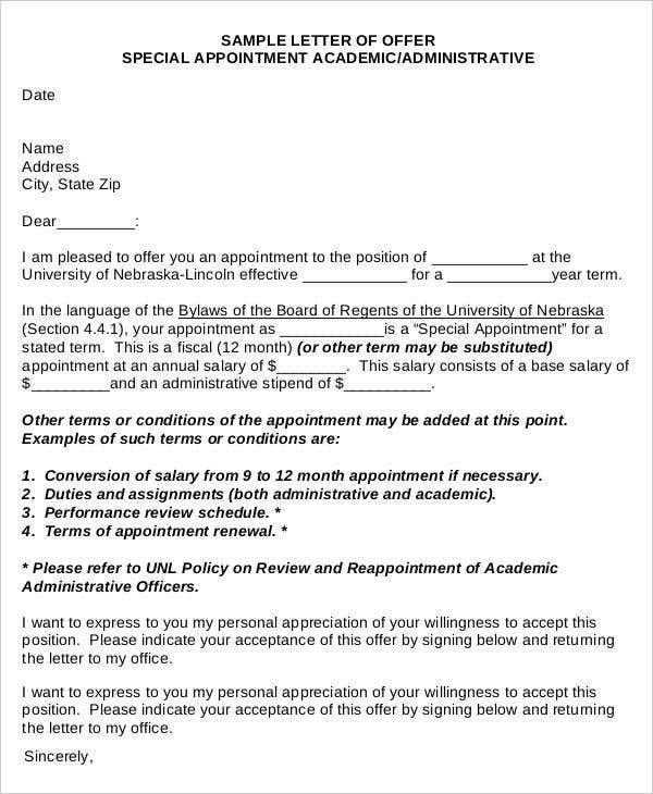 Appointment Letters 15 Free Word PDF Documents Download – Salary Review Letter Template