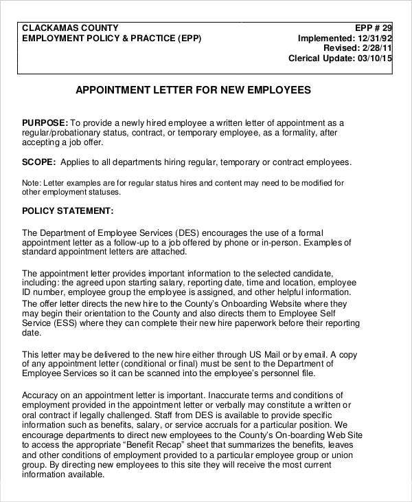 Job Appointment Letter For New Employee In PDF