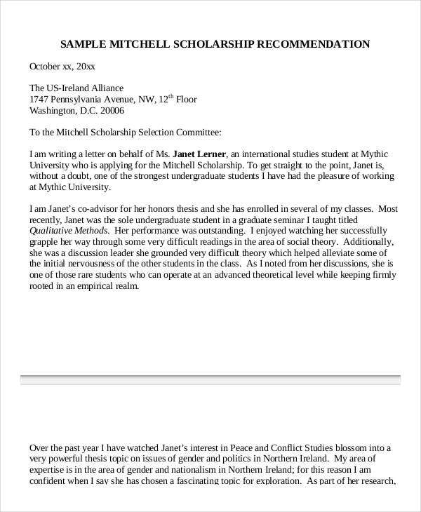 fellowship recommendation letter