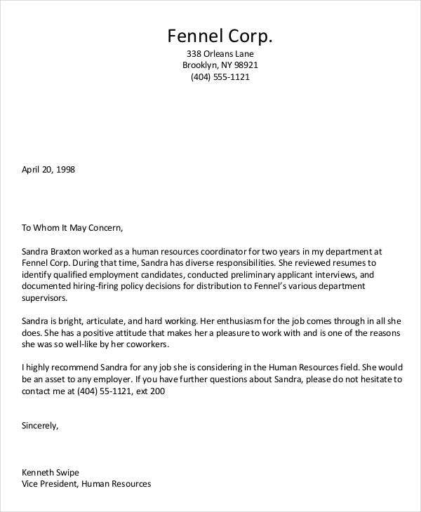 Reference Letter For Fired Employee