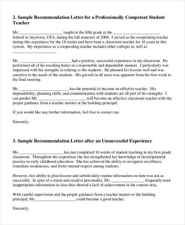 simple recommendation letter sample