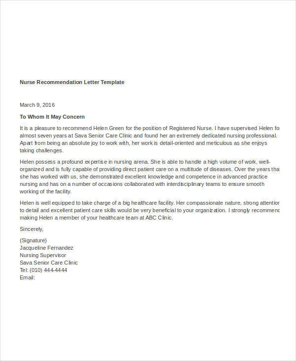 Nursing Letters Of Recommendation Examples Choice Image Letter