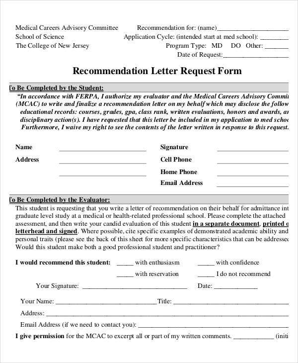 Recommendation Letter Request Form Tcnj
