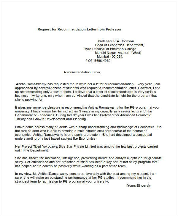 Request Letter To Professor For Recommendation